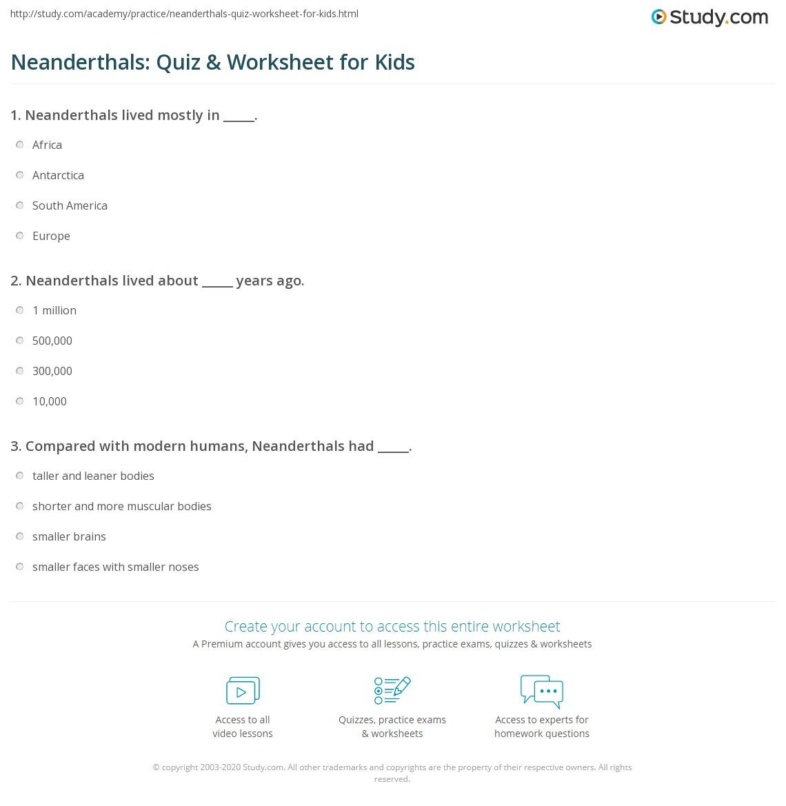 Neanderthals Quiz Amp Worksheet For Kids