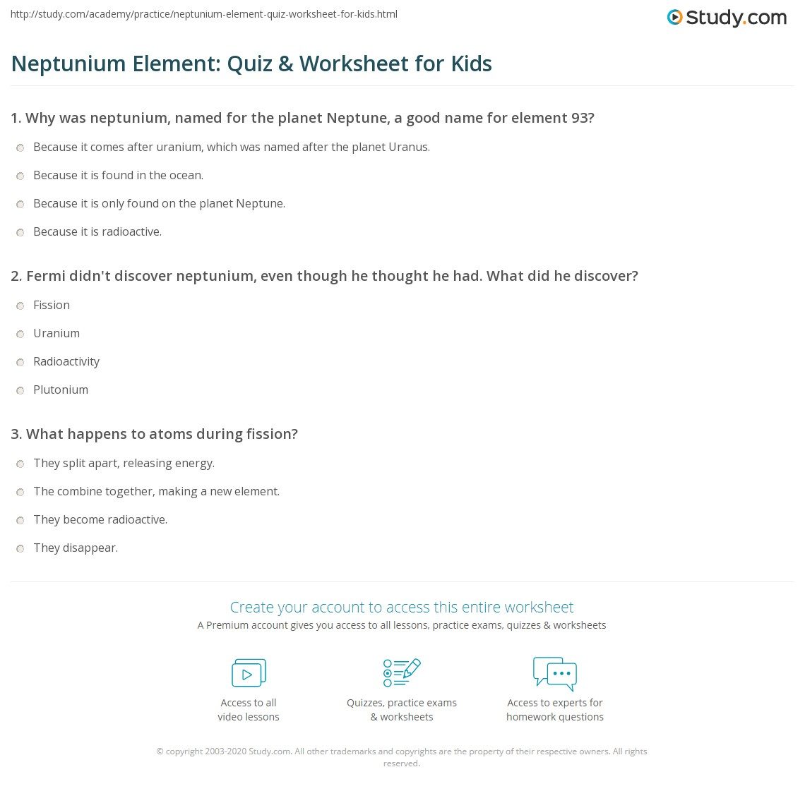 Neptunium Element Quiz Amp Worksheet For Kids