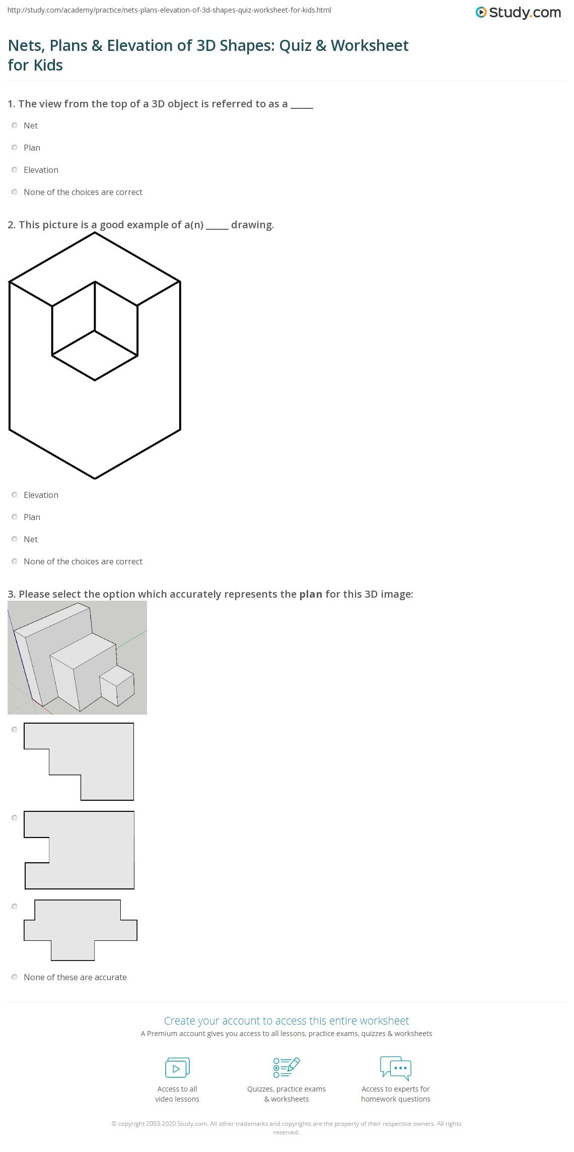 Nets Plans Amp Elevation Of 3d Shapes Quiz Amp Worksheet For