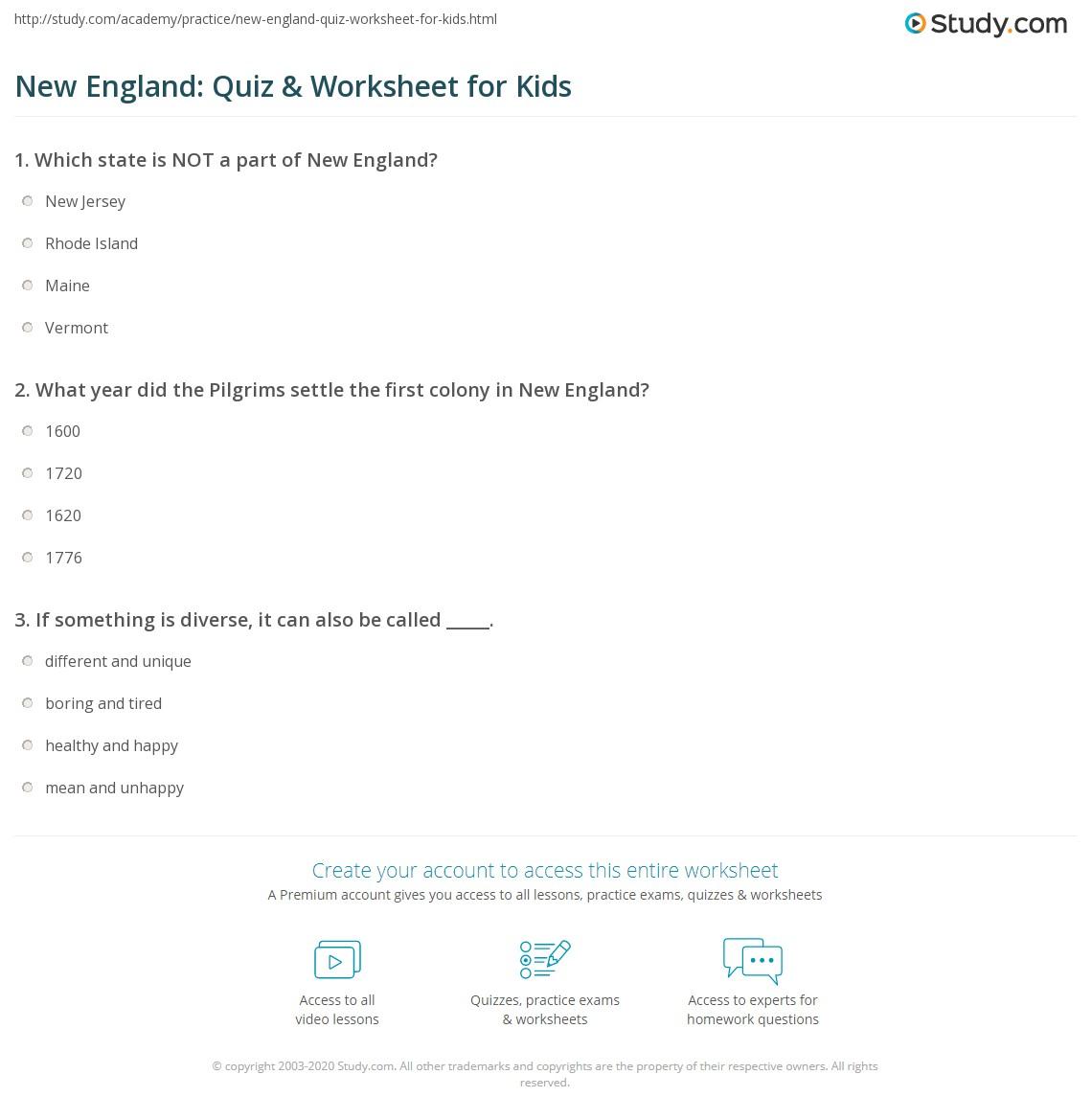 New England Quiz Amp Worksheet For Kids