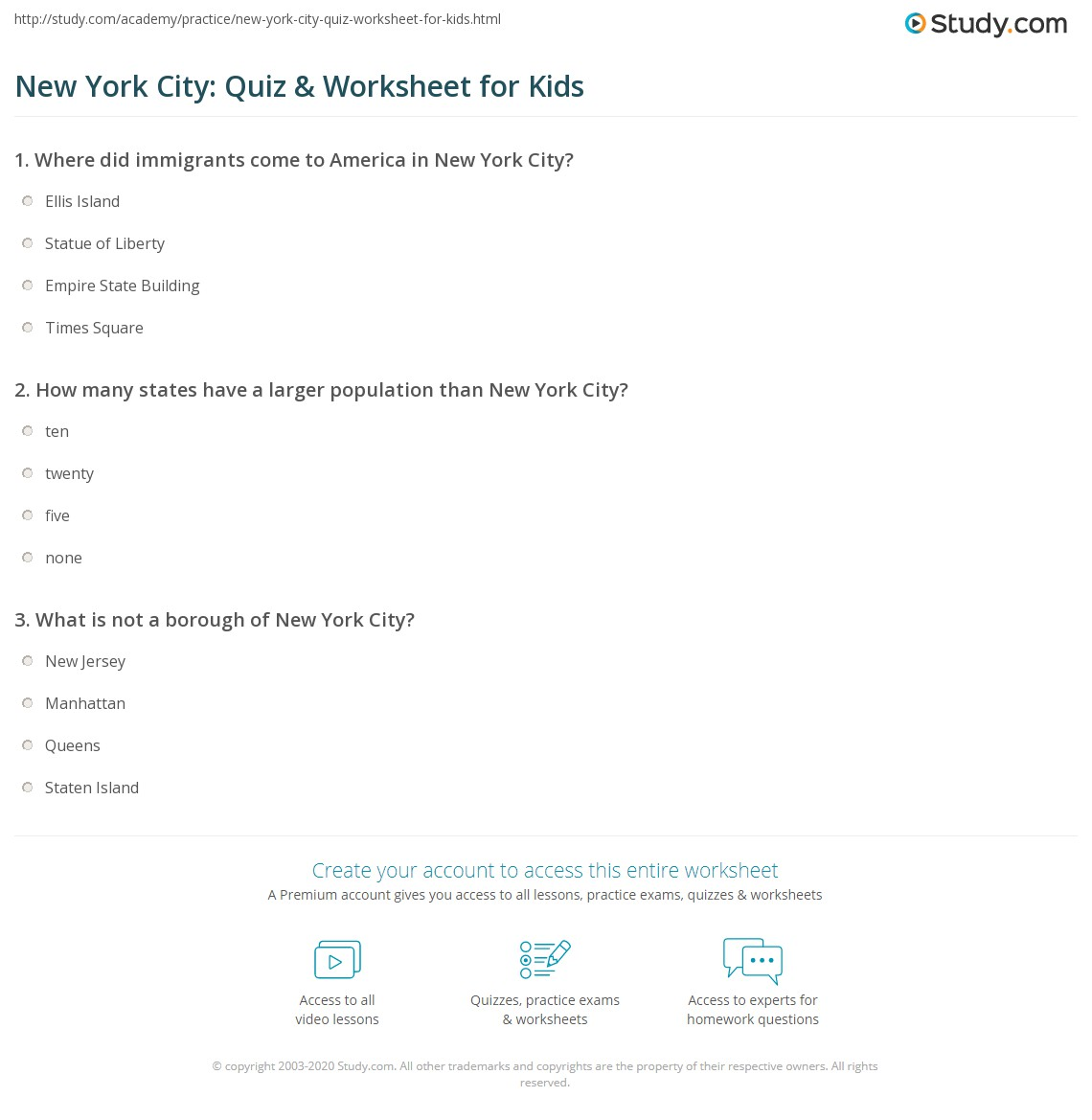 New York City Quiz Amp Worksheet For Kids