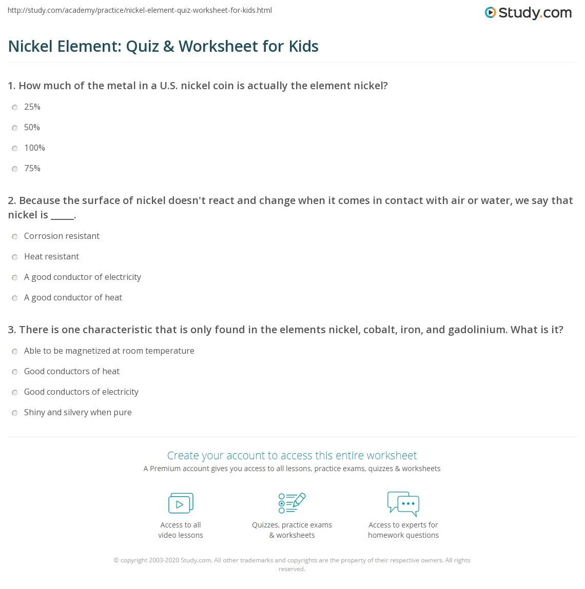 Nickel Element Quiz Amp Worksheet For Kids