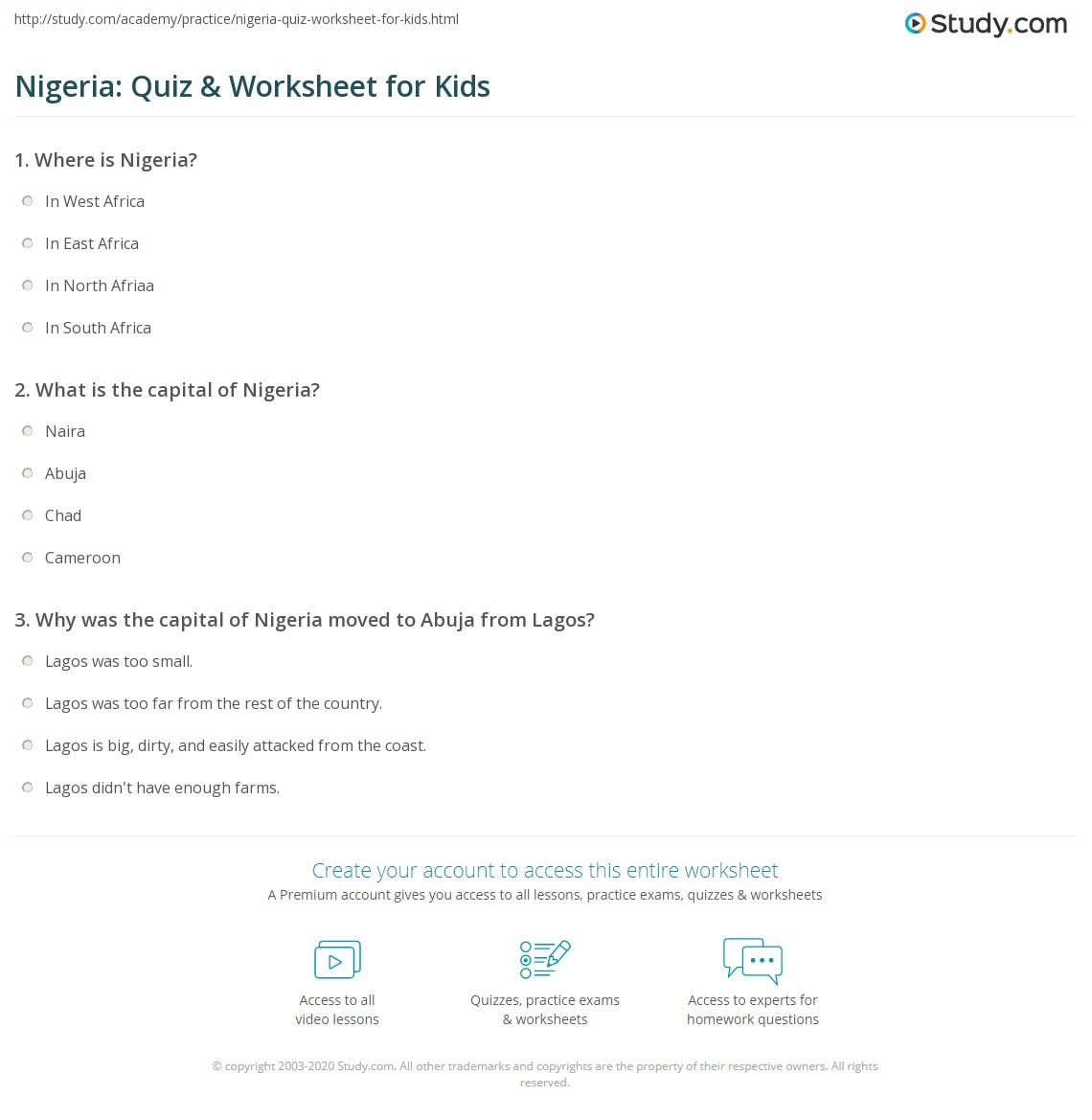 Nigeria Quiz Amp Worksheet For Kids