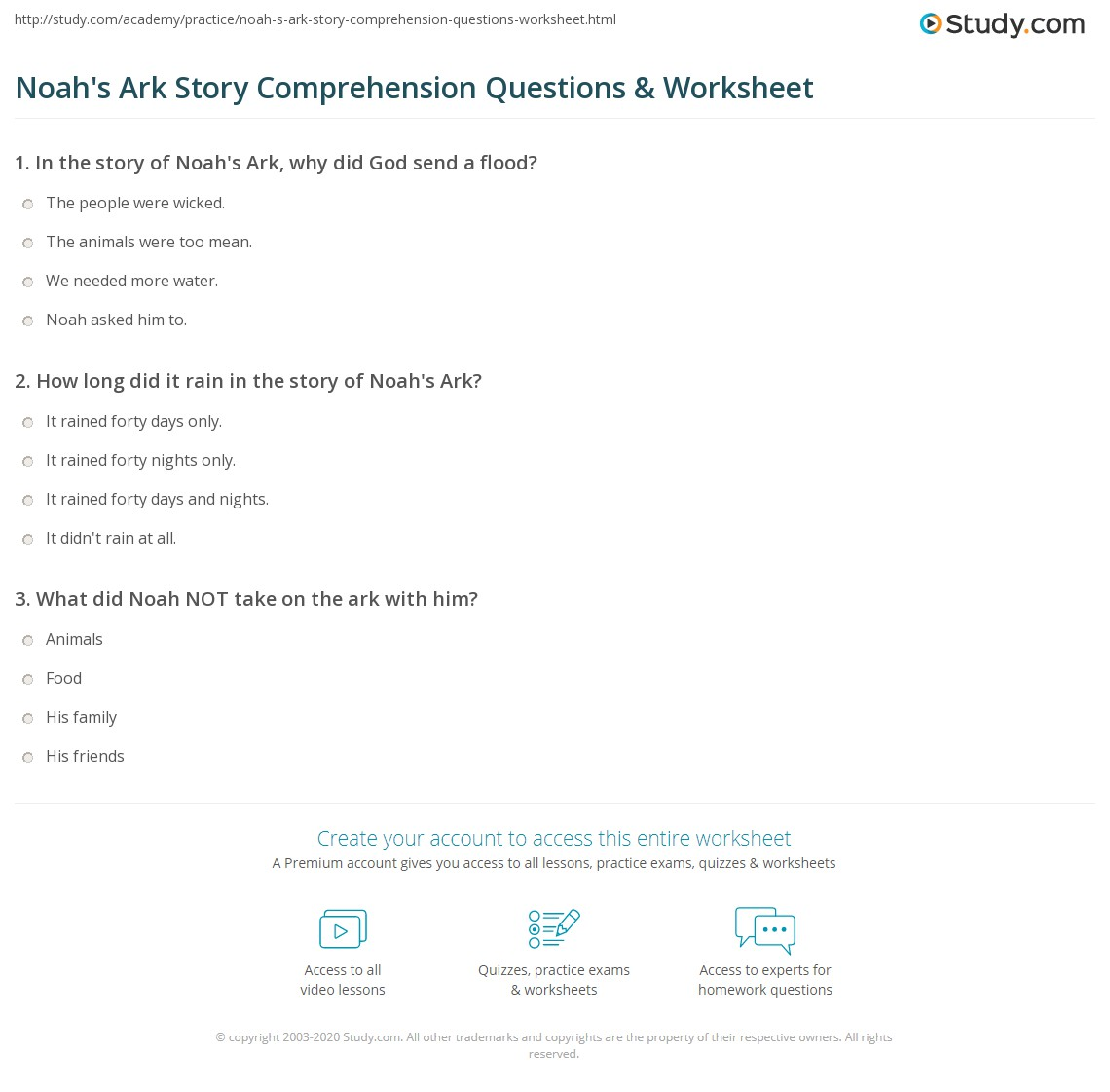 Noah S Ark Story Comprehension Questions Amp Worksheet