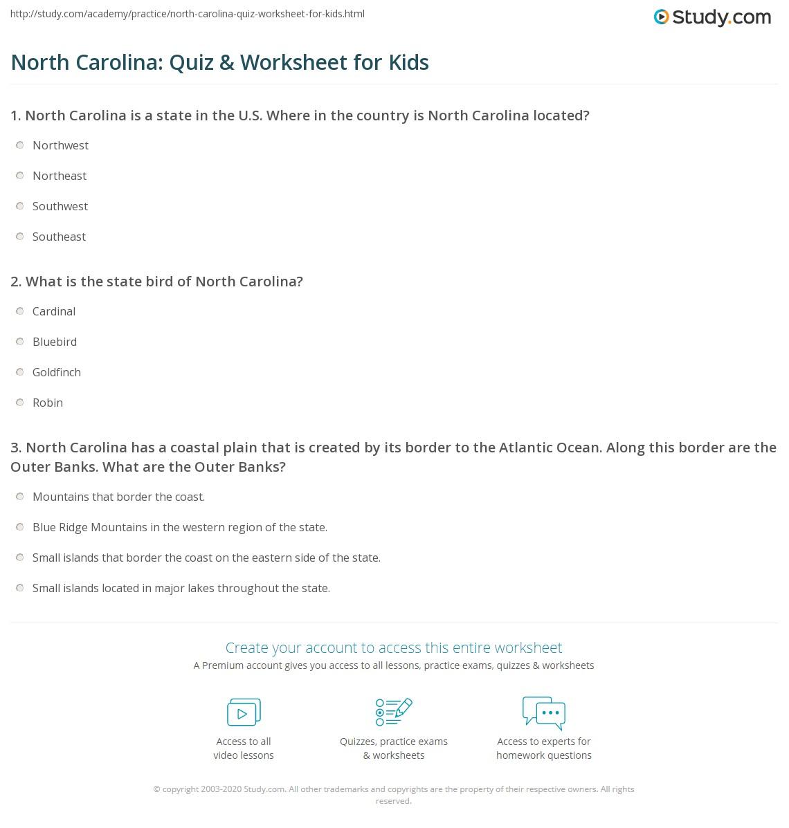 North Carolina Quiz Amp Worksheet For Kids