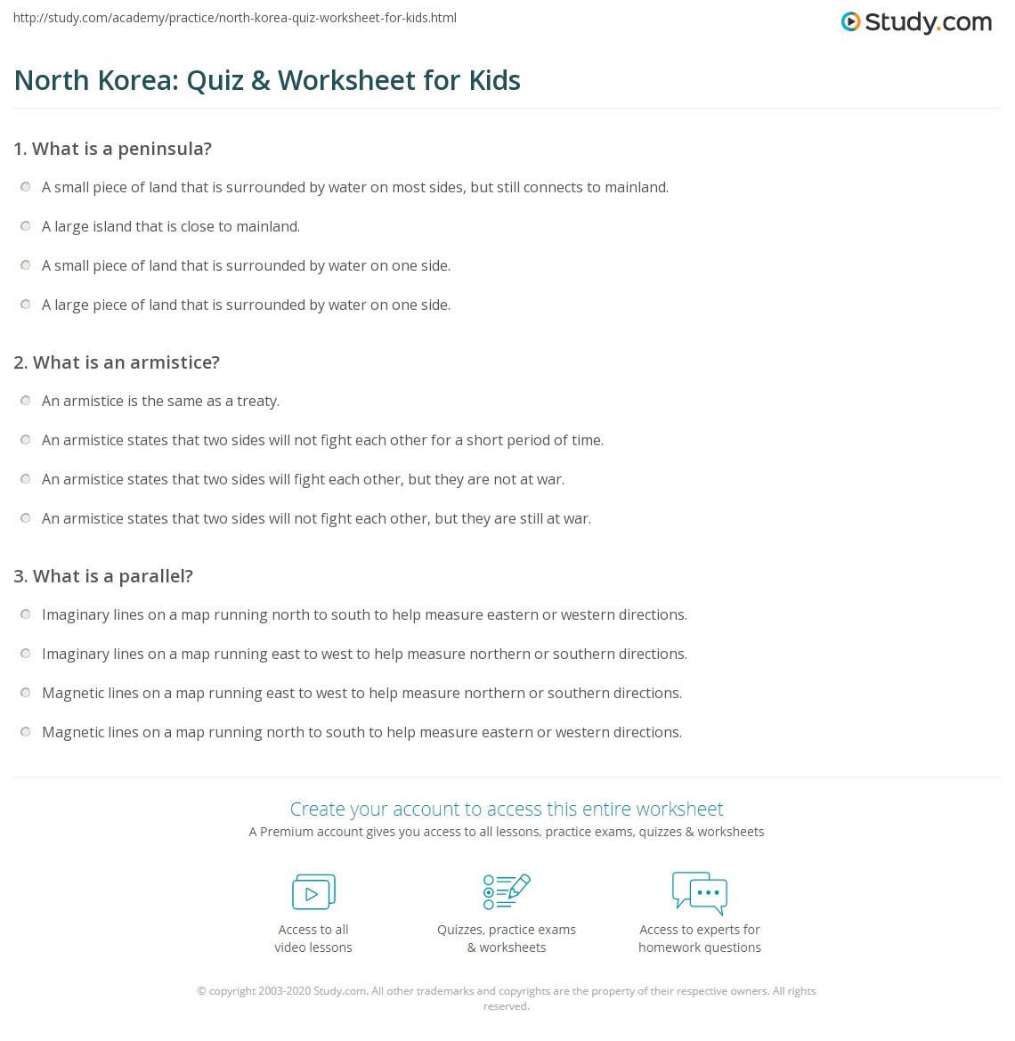 North Korea Quiz Amp Worksheet For Kids