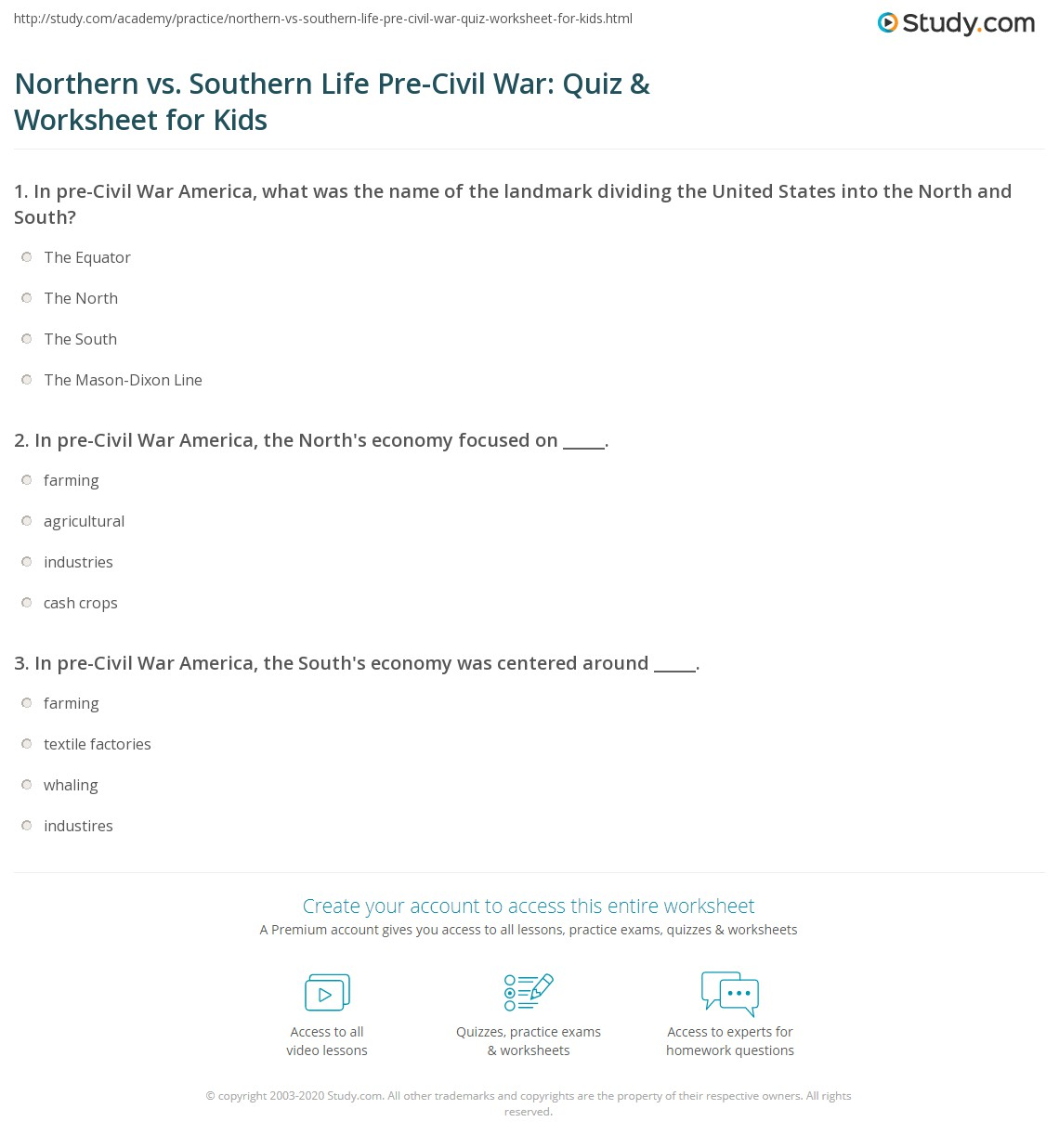Northern Vs Southern Life Pre Civil War Quiz Amp Worksheet