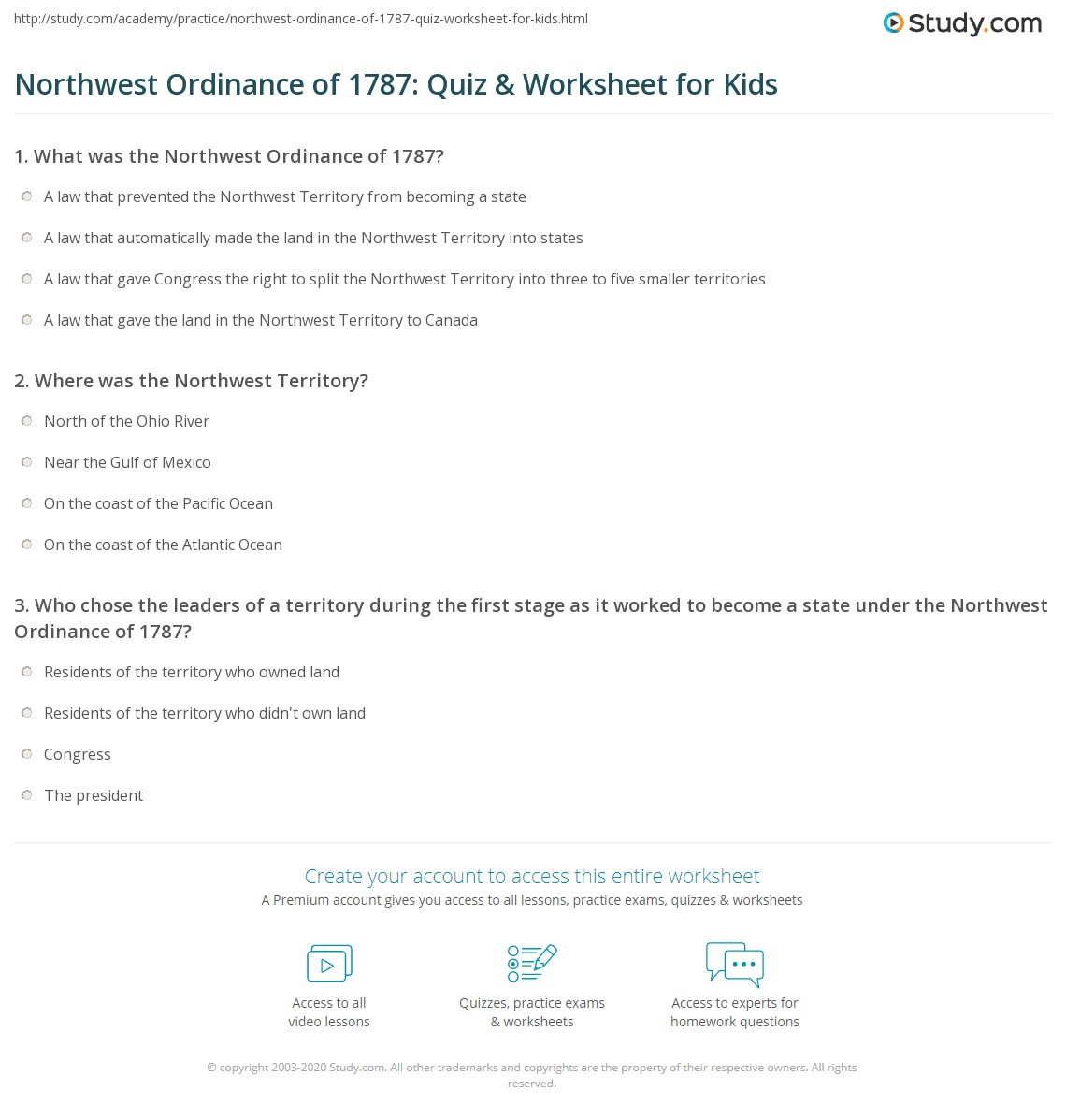 Northwest Ordinance Of Quiz Amp Worksheet For Kids