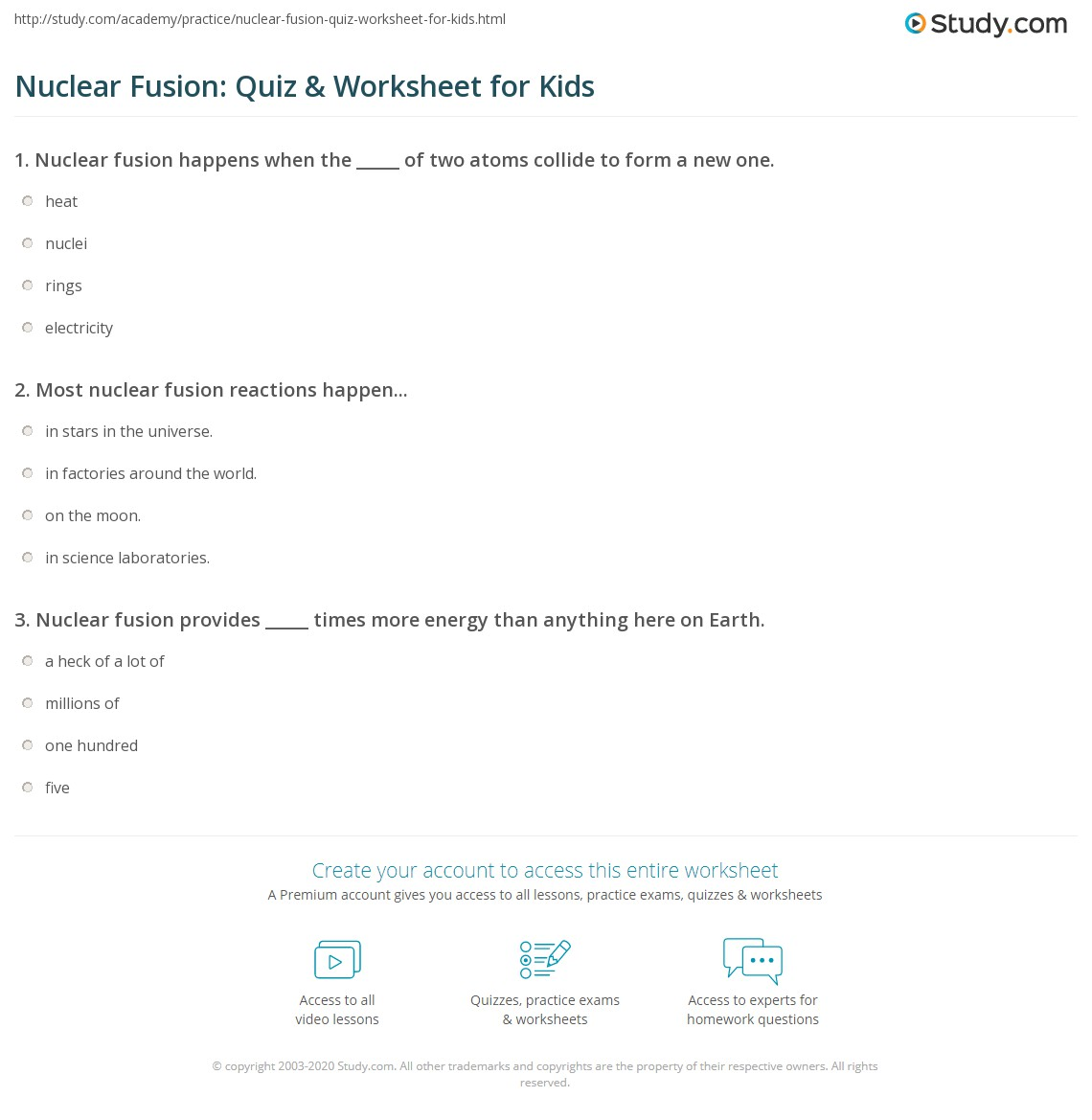 Nuclear Fusion Quiz Amp Worksheet For Kids