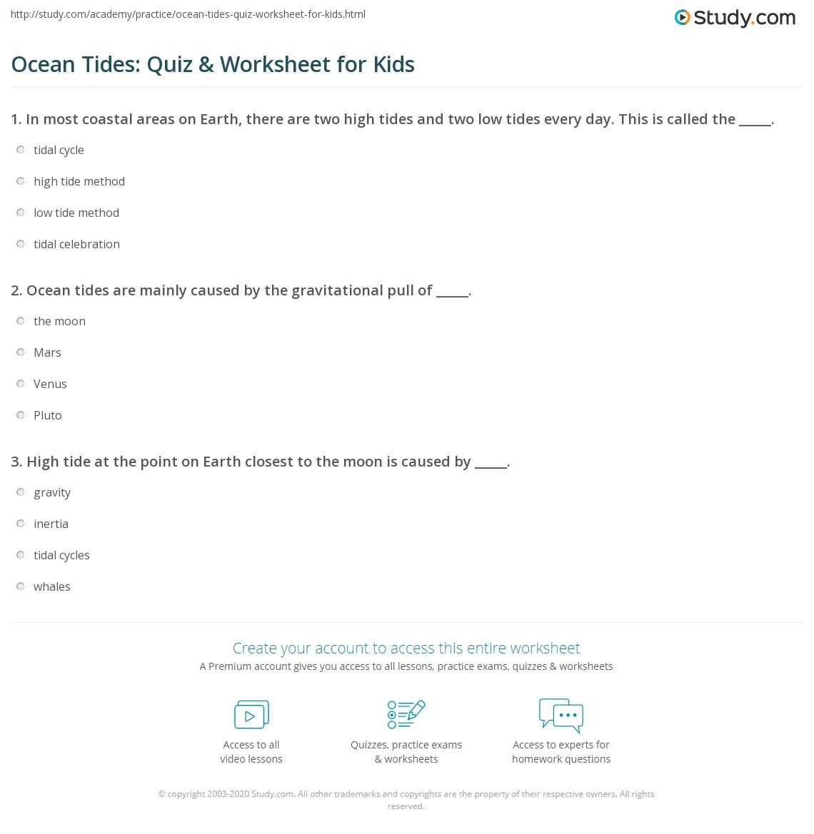 Ocean Tides Quiz Amp Worksheet For Kids