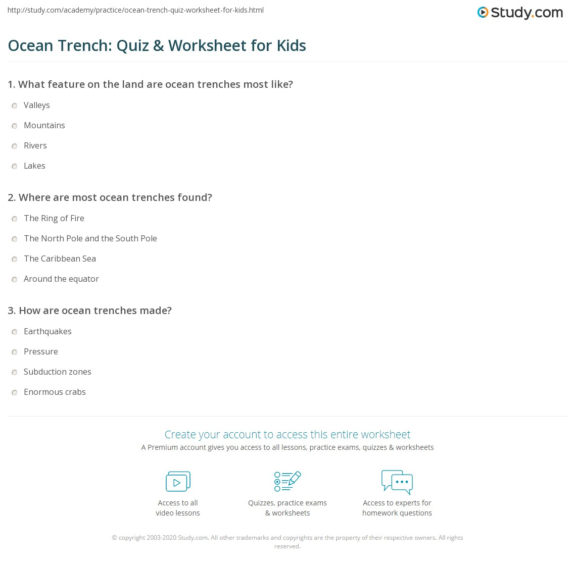 Ocean Trench Quiz Amp Worksheet For Kids