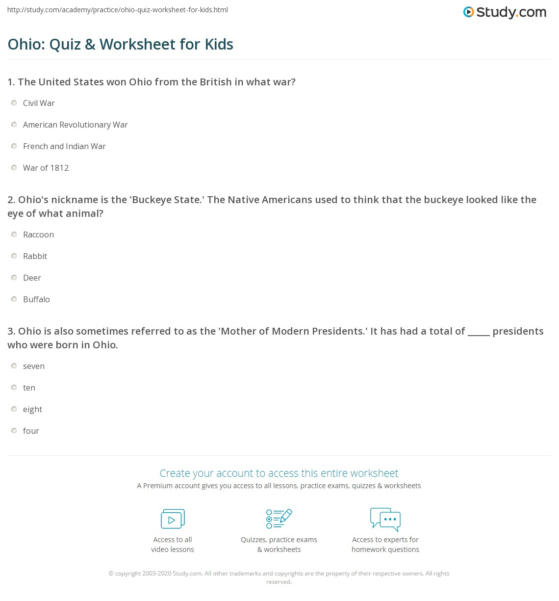 Ohio Quiz Amp Worksheet For Kids