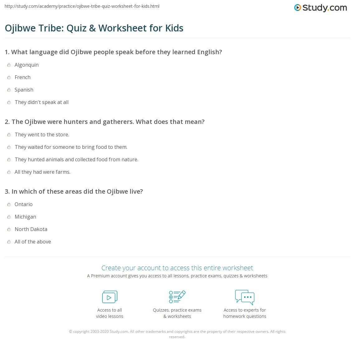 Ojibwe Tribe Quiz Amp Worksheet For Kids