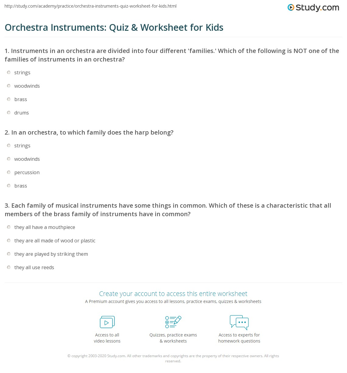 Orchestra Instruments Quiz Amp Worksheet For Kids