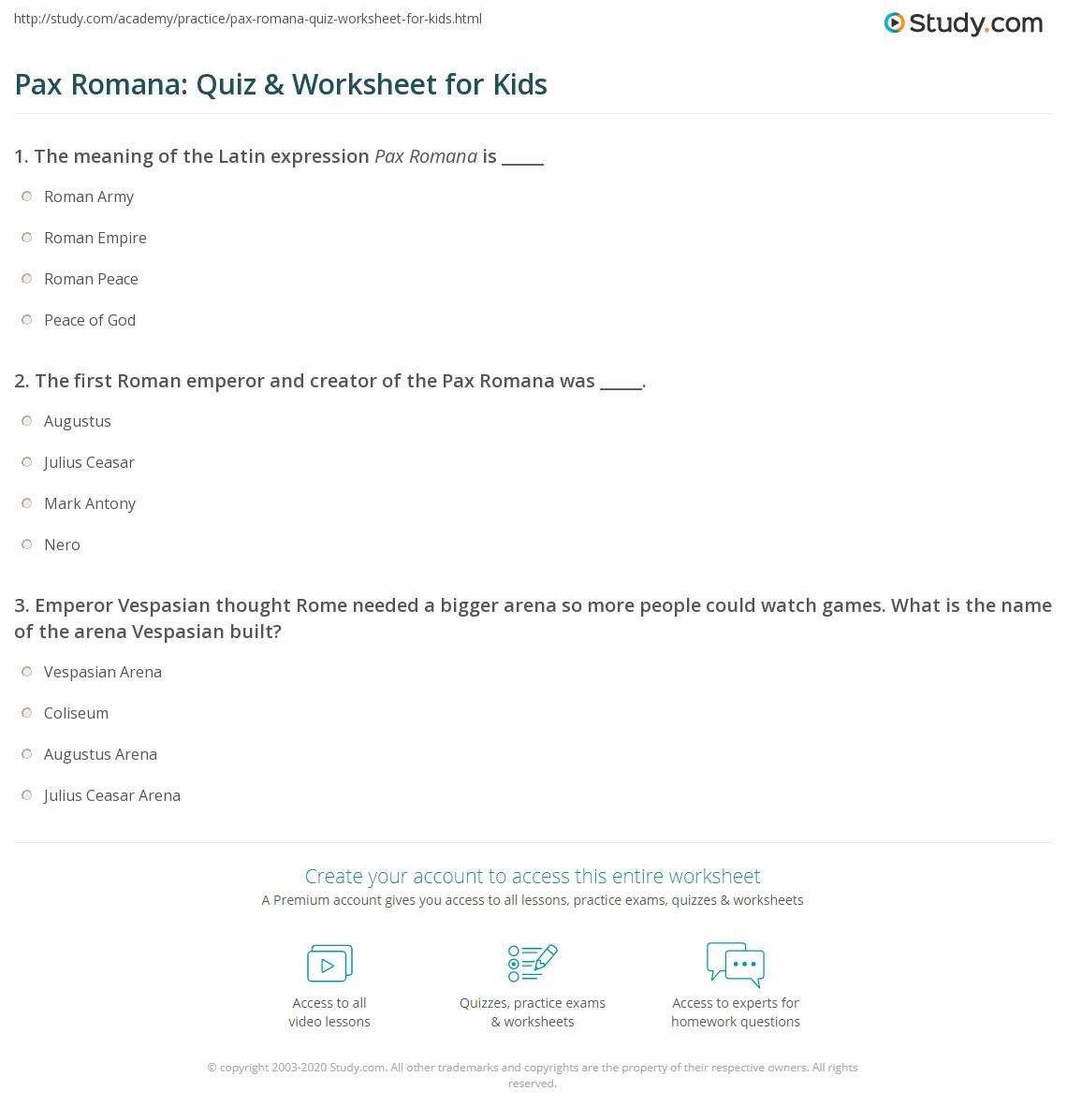 Pax Romana Quiz Amp Worksheet For Kids