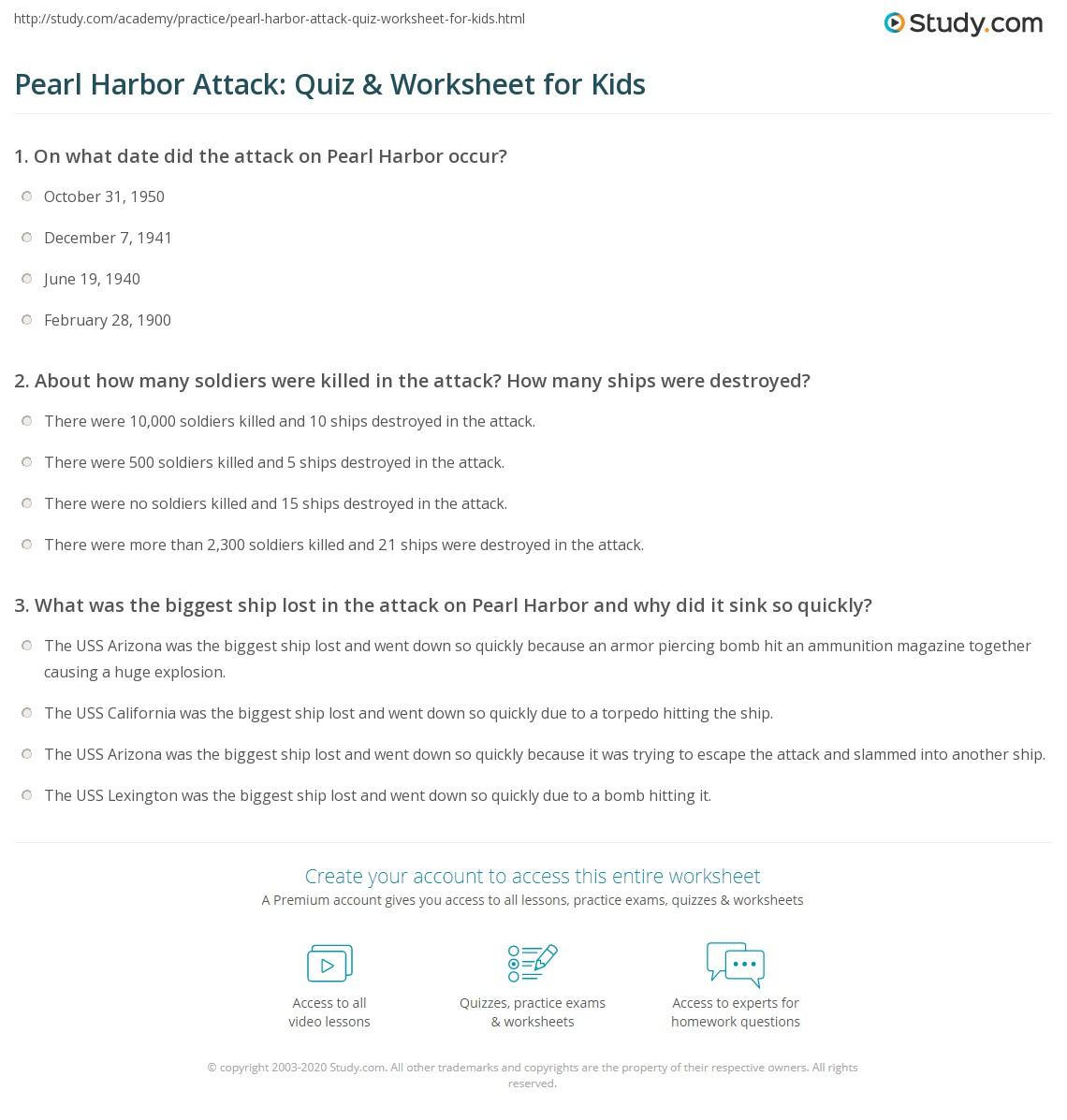 Worksheets Pearl Harbor Worksheet Cheatslist Free
