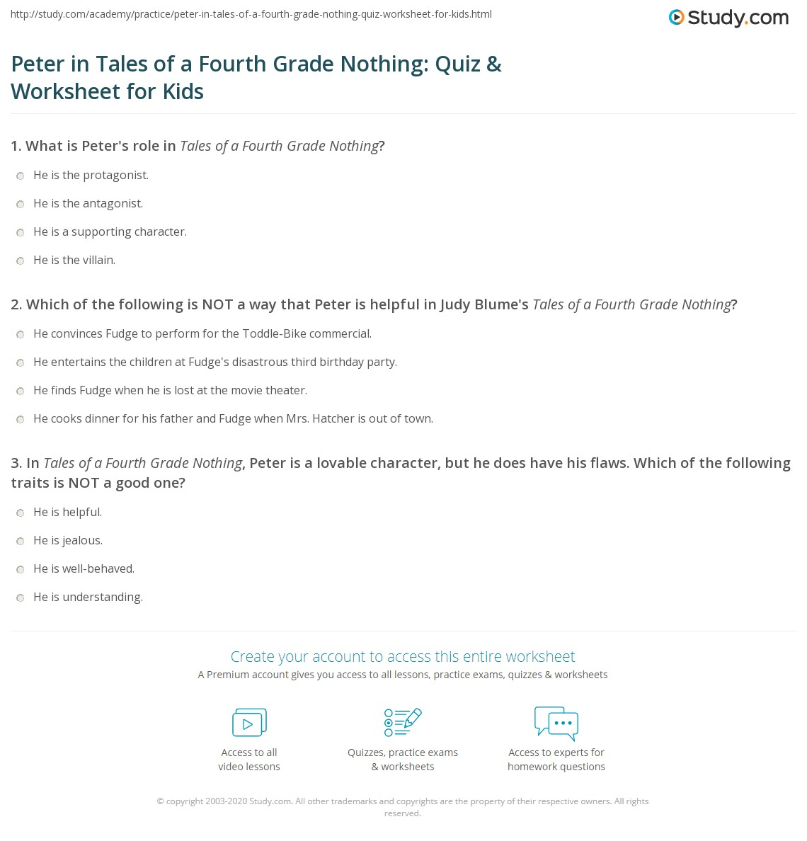 Peter In Tales Of A Fourth Grade Nothing Quiz Amp Worksheet For Kids