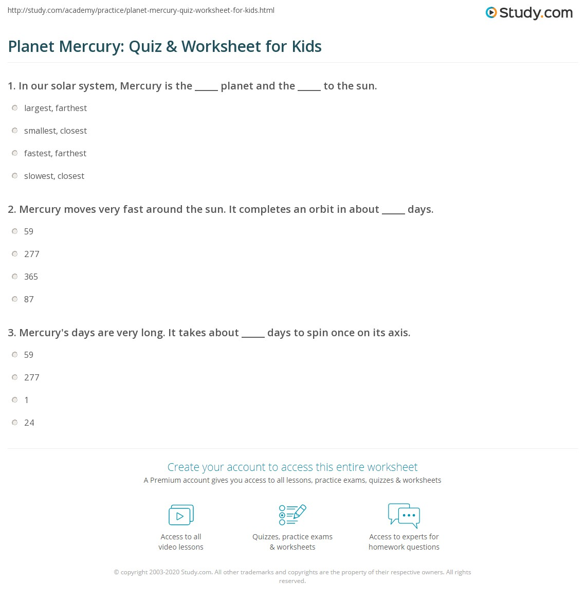 Planet Mercury Quiz Amp Worksheet For Kids