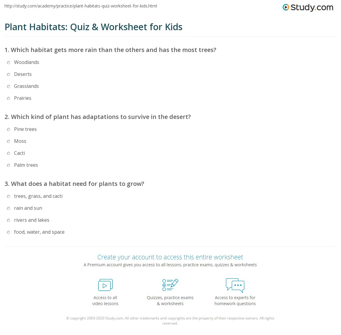 Plant Habitats Quiz Amp Worksheet For Kids