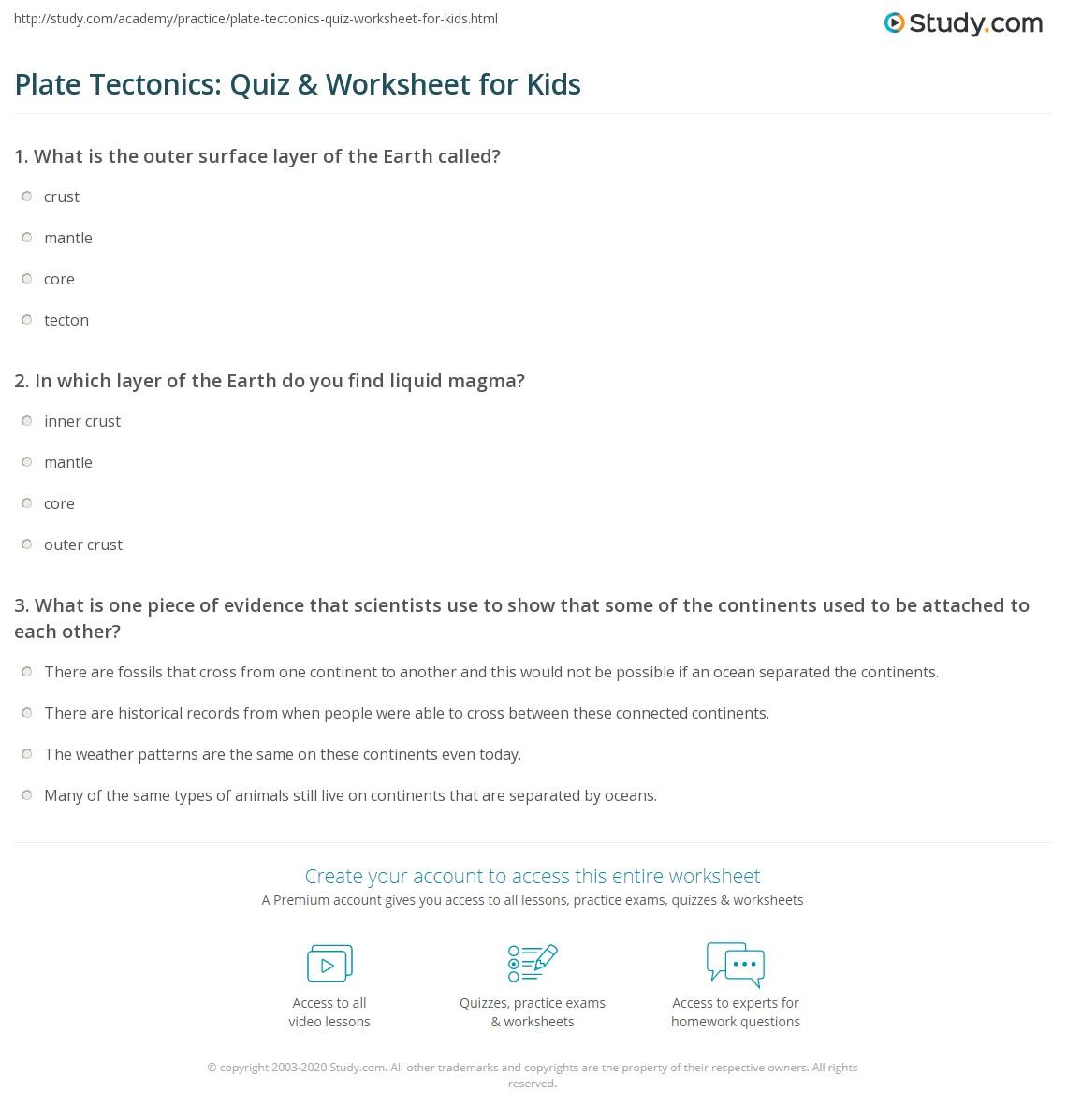 Plate Tectonics Quiz Amp Worksheet For Kids