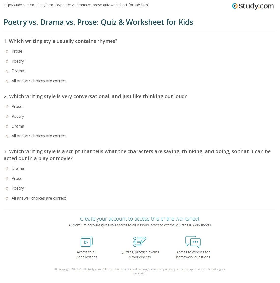 Poetry Vs Drama Vs Prose Quiz Amp Worksheet For Kids