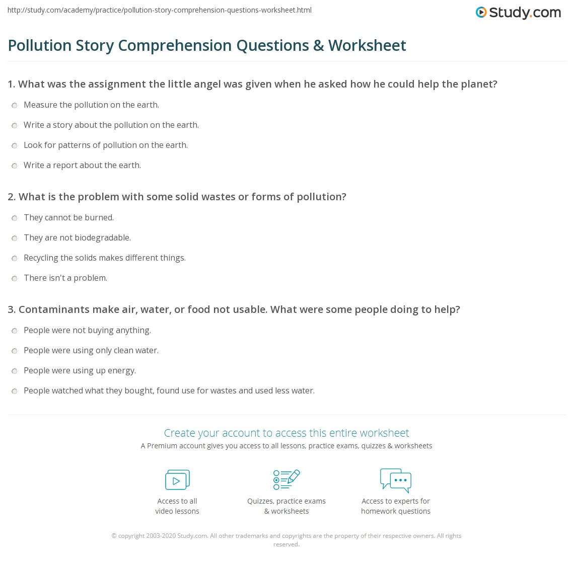 Pollution Story Comprehension Questions Amp Worksheet