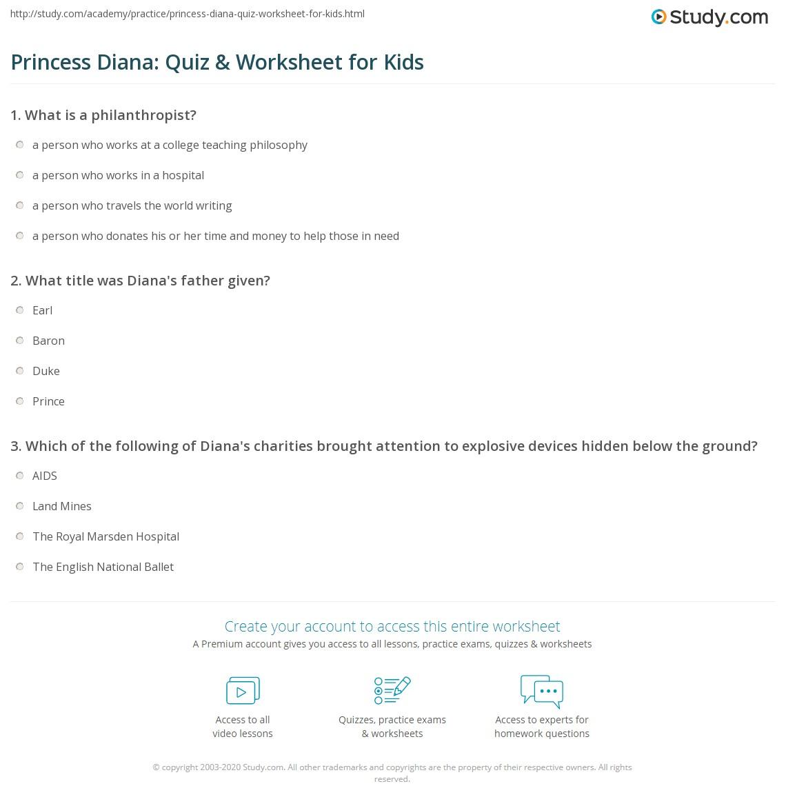 Princess Diana Quiz Amp Worksheet For Kids