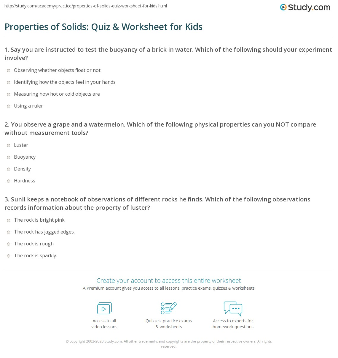 Properties Of Solids Quiz Amp Worksheet For Kids