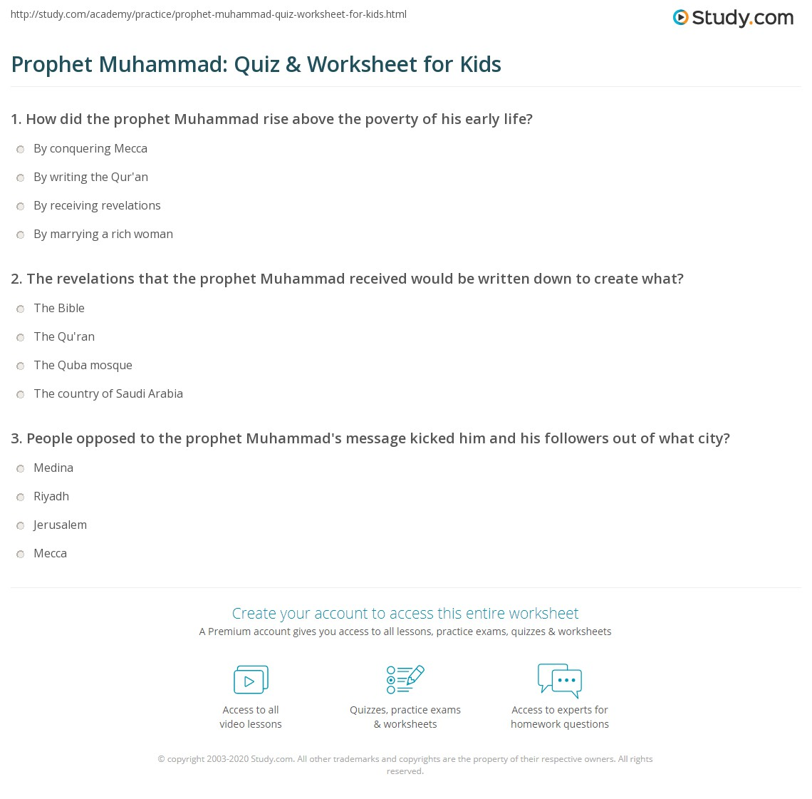 Prophet Muhammad Quiz Amp Worksheet For Kids