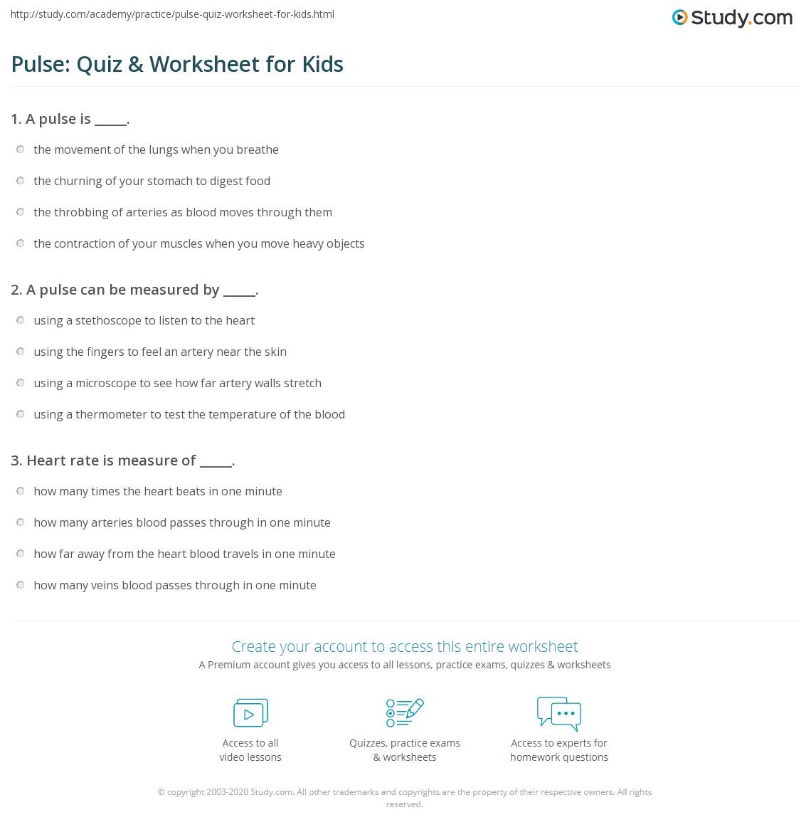 Pulse Quiz Amp Worksheet For Kids