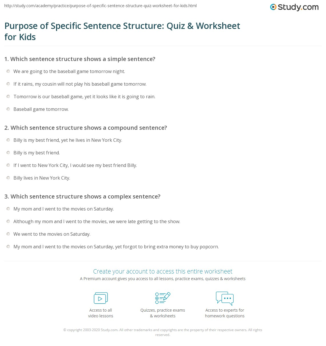 Purpose Of Specific Sentence Structure Quiz Amp Worksheet