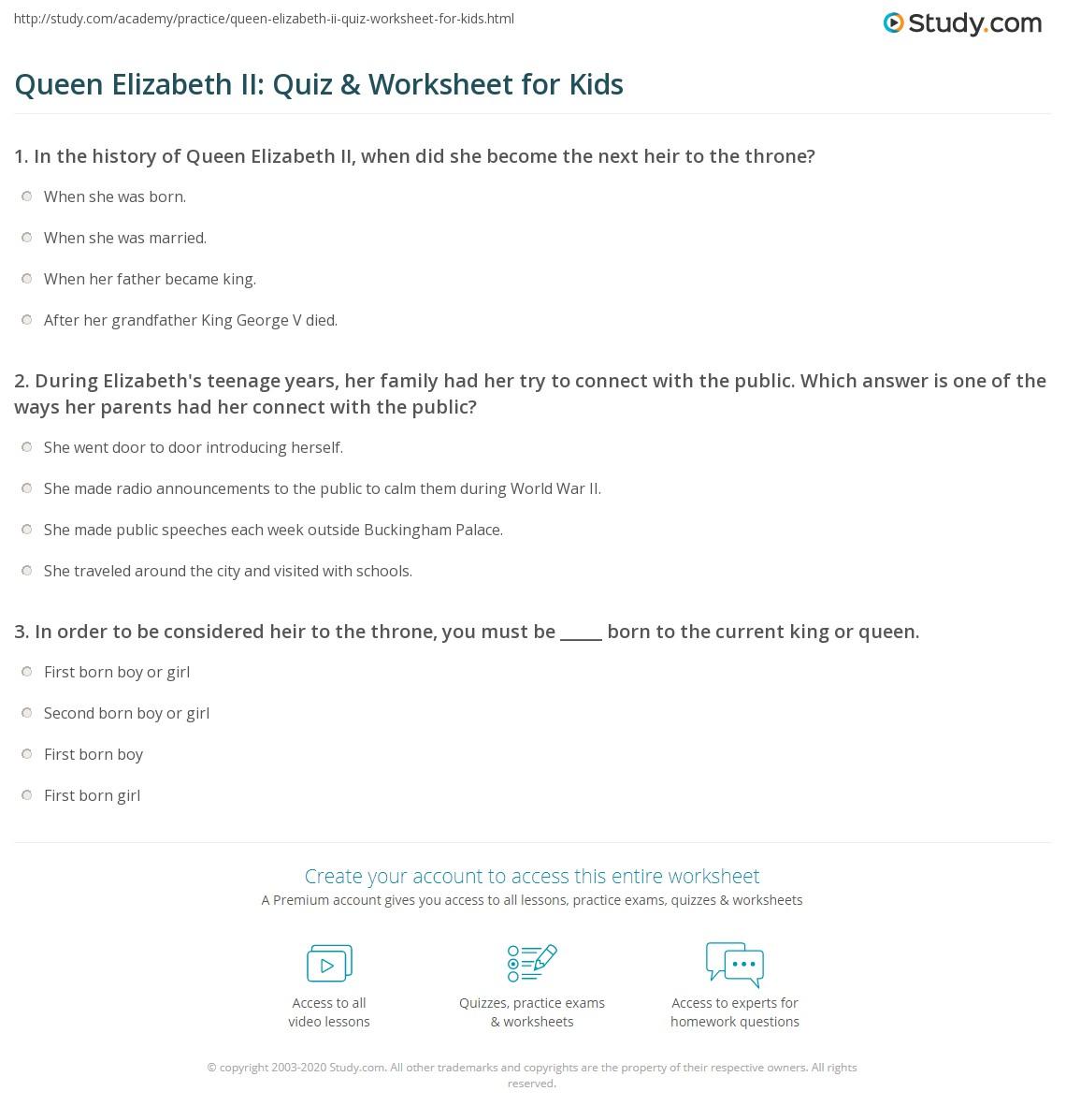 Queen Elizabeth Ii Quiz Amp Worksheet For Kids