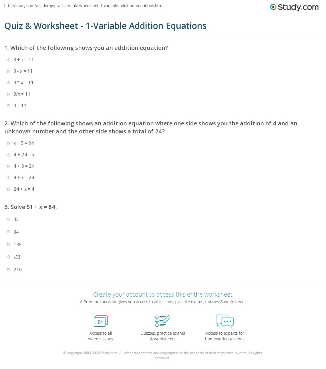 Solving Addition Equations Worksheets