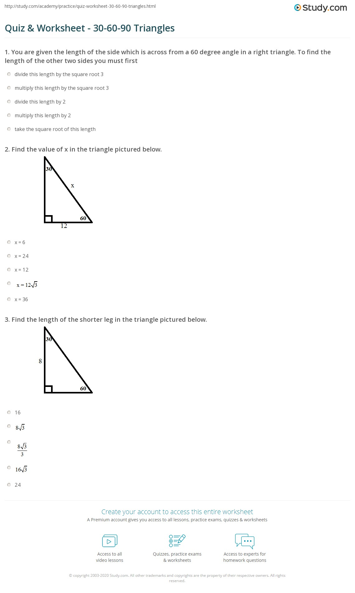 5 8 Homework 30 60 90 Triangles Key
