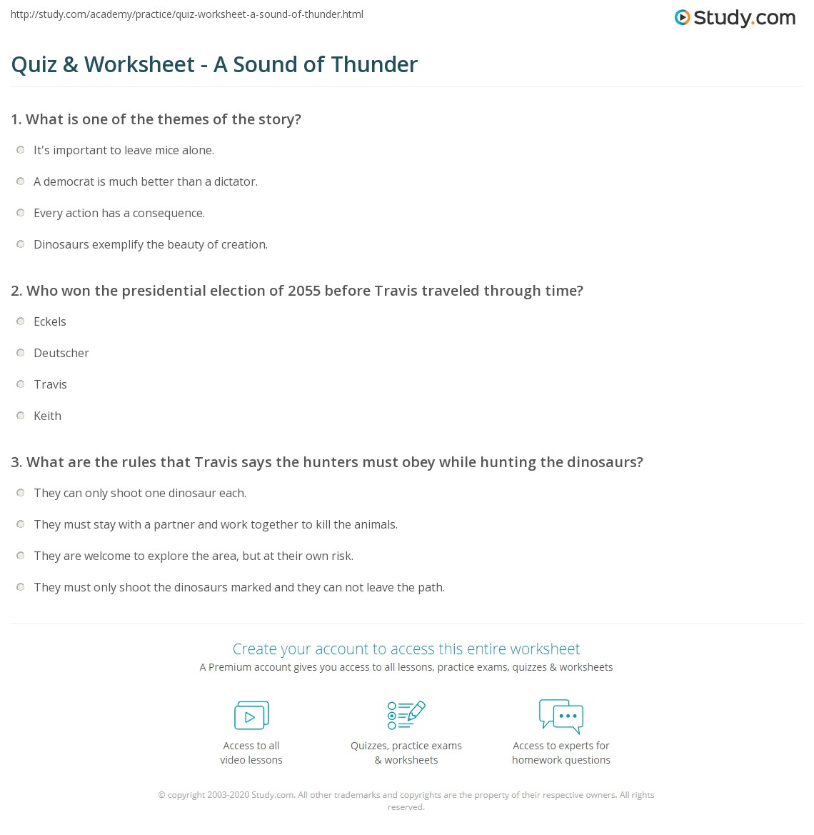 The Sound Of Thunder Summary A Sound Of Thunder By Ray