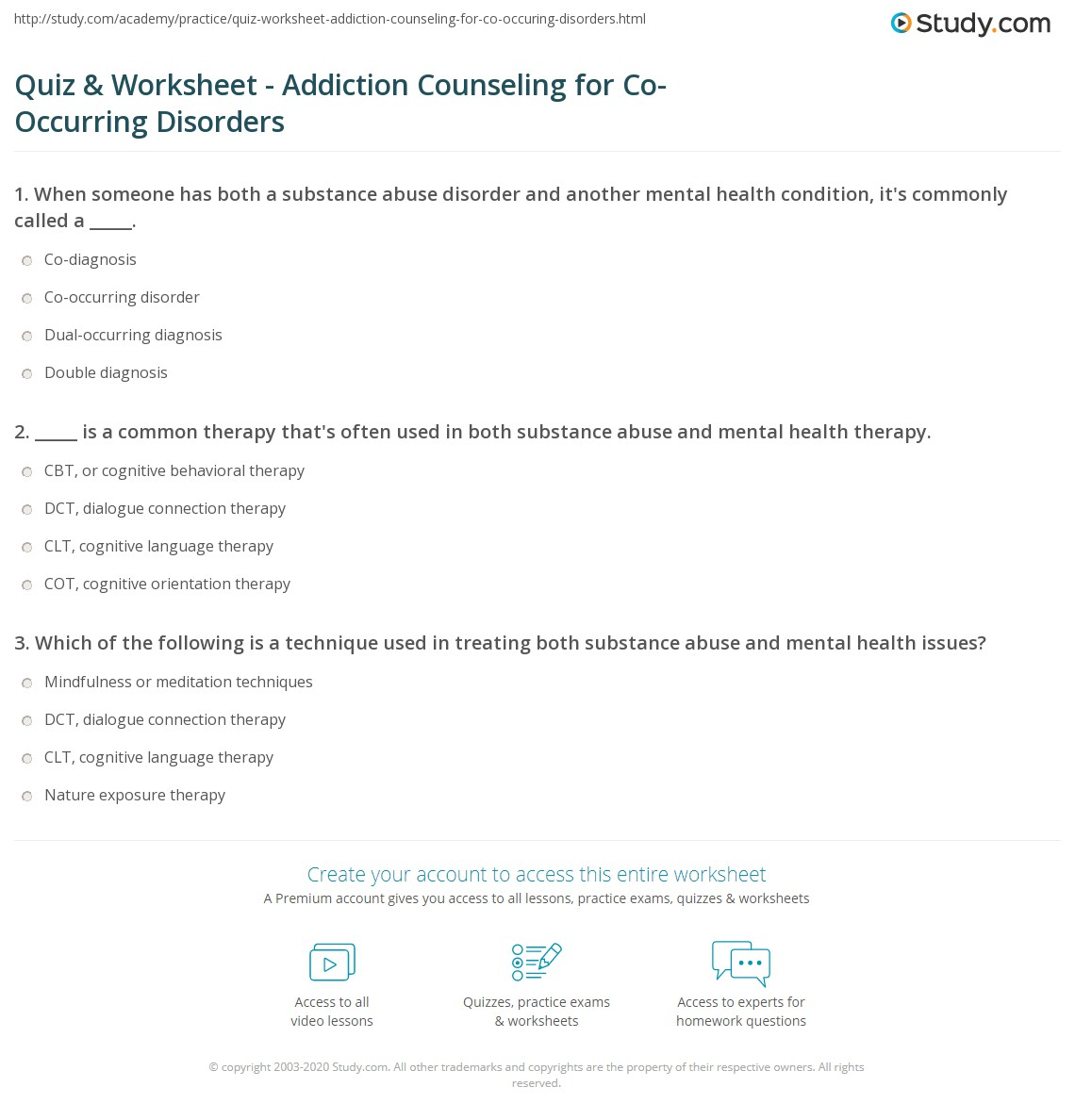 Coping Skills Worksheets For Substance Abuse