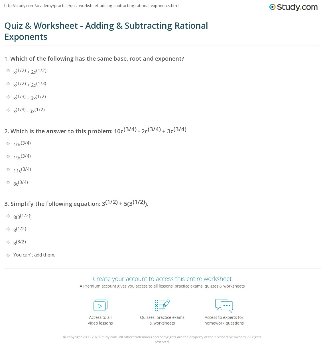Equations With Rational Exponents Worksheet A 9 3 Answers