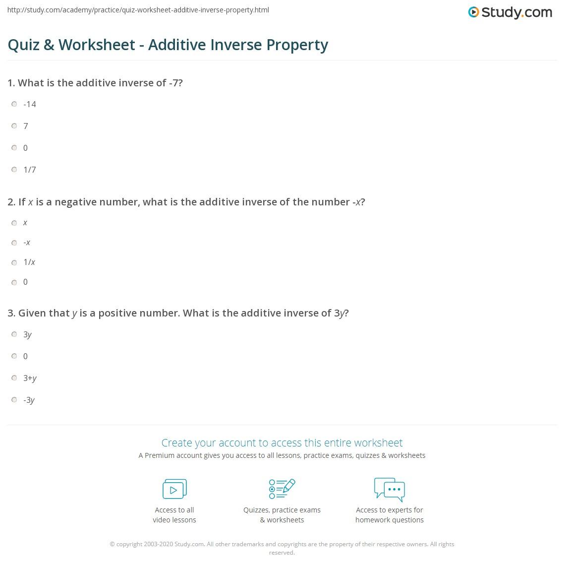 Additive And Multiplicative Inverse Worksheet