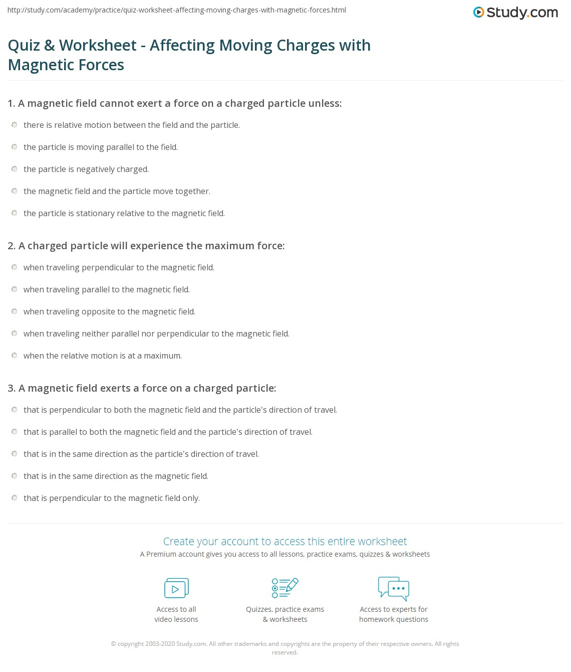 Magnetic Field Worksheet