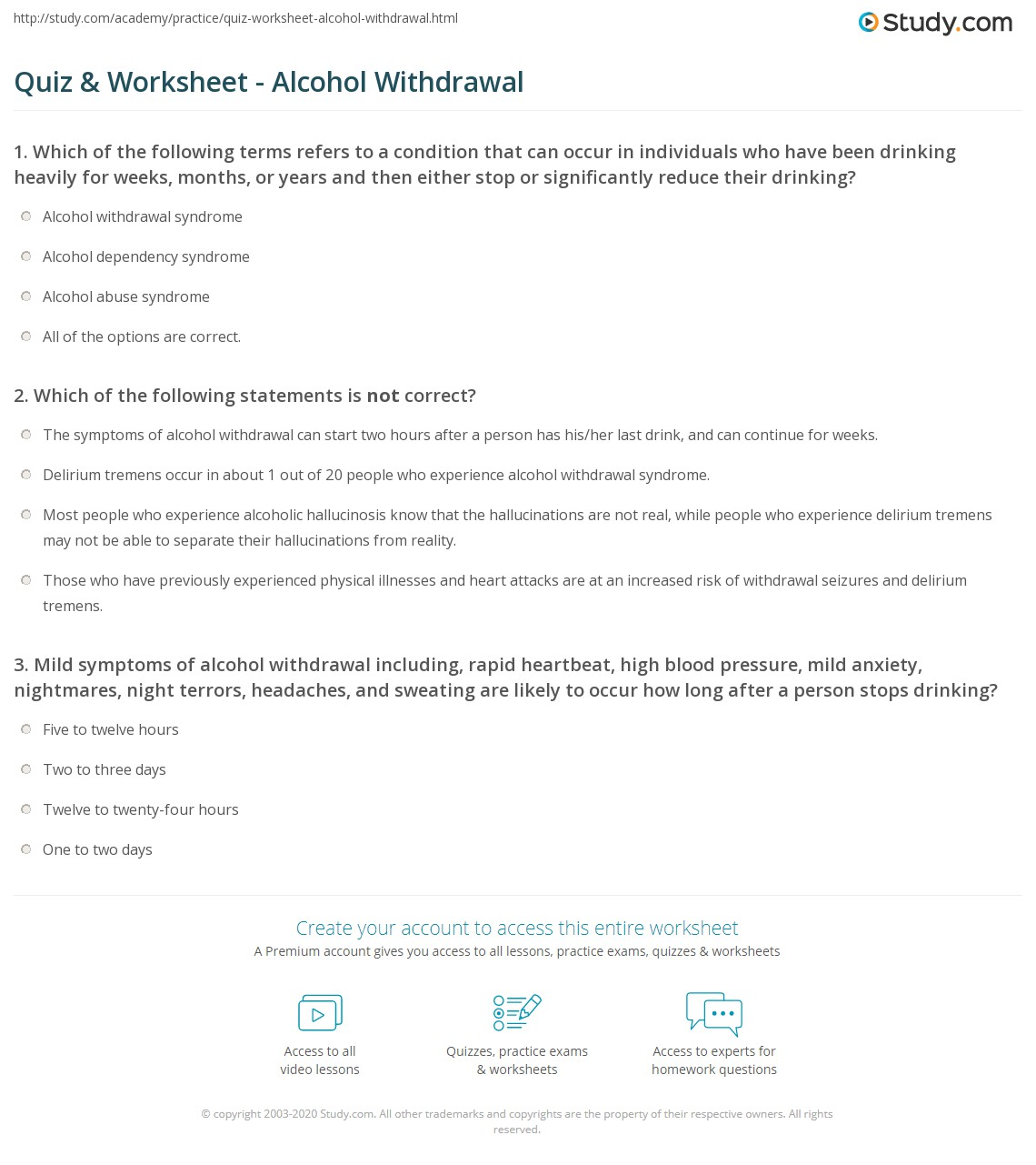 Post Acute Withdrawal Syndrome Worksheet