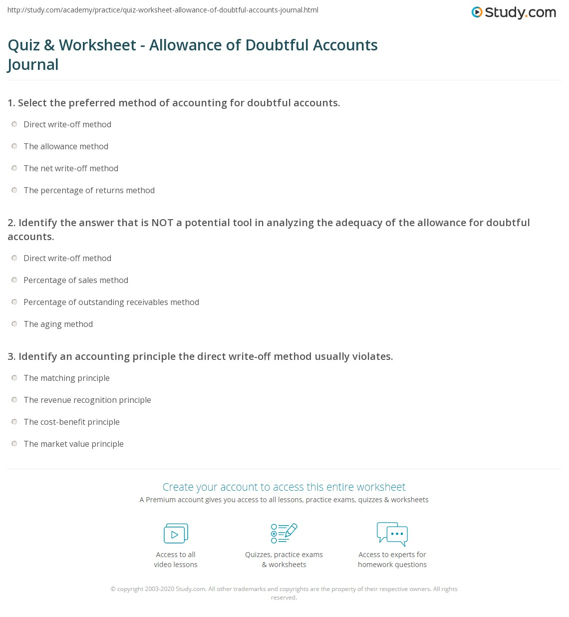 Allowance Worksheet