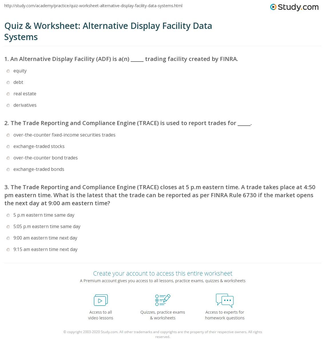 Quiz Amp Worksheet Alternative Display Facility Data