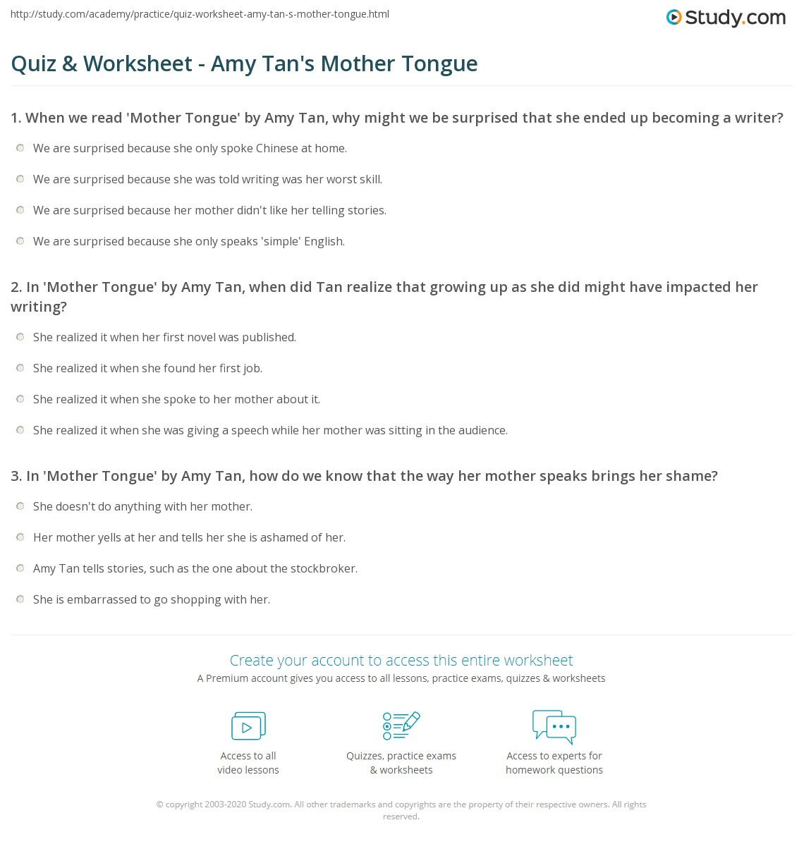 What Is Mother Tongue By Amy Tan About Amy Tan S By