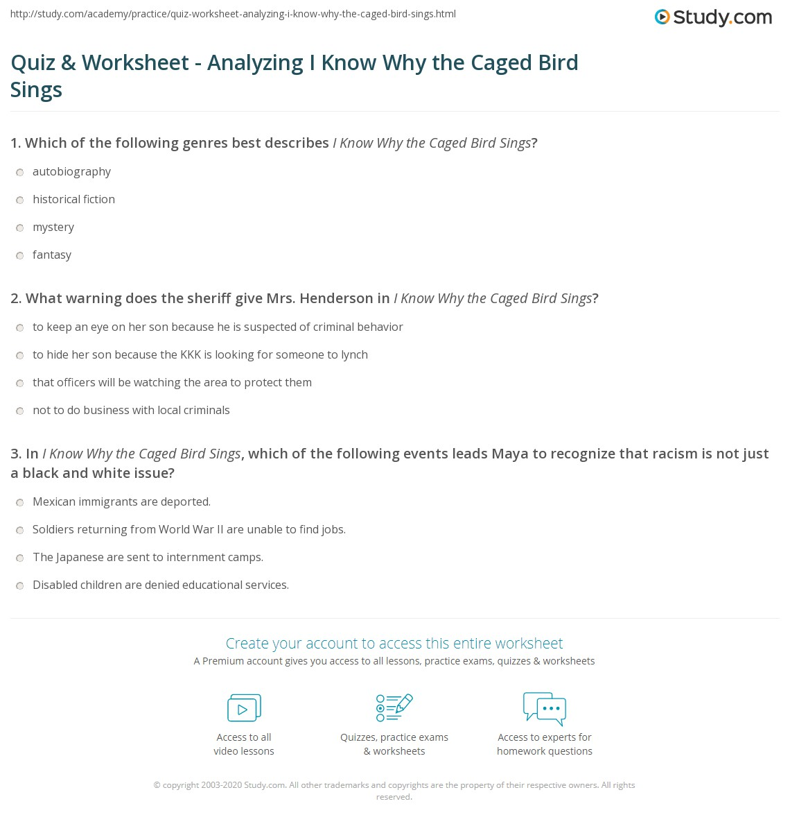 Printables Of I Know Why The Caged Bird Sings Worksheet