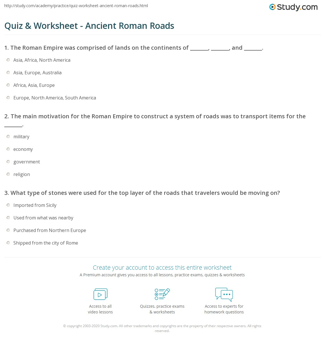 Ancient Roman Religion Worksheet