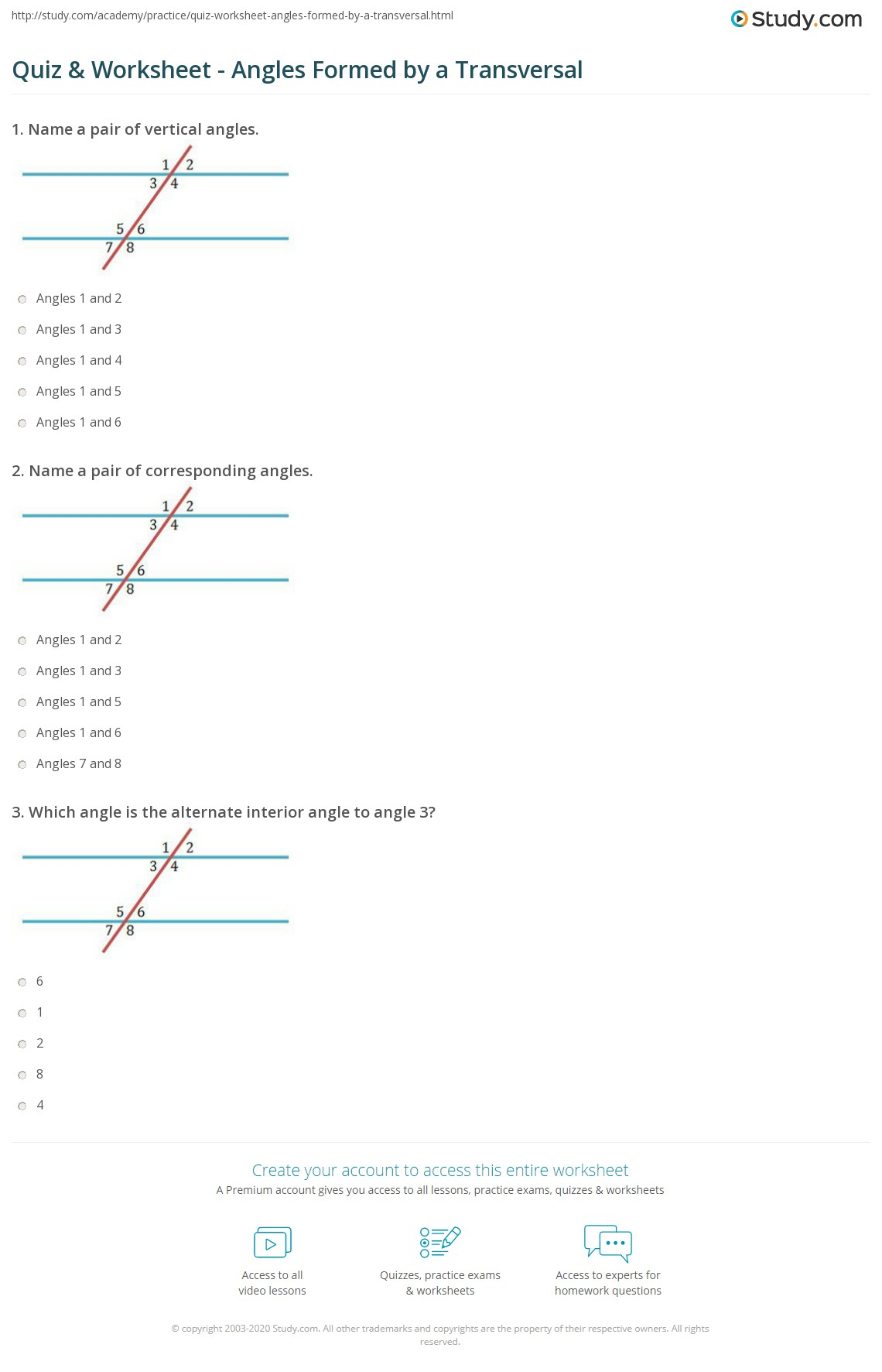 Angles In Transversal Worksheet Answer Key