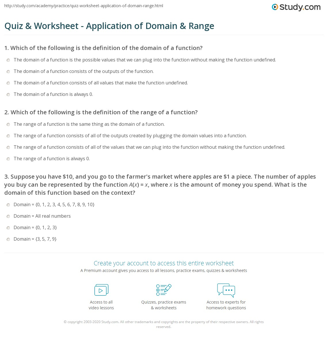 Domain And Range Practice Worksheet