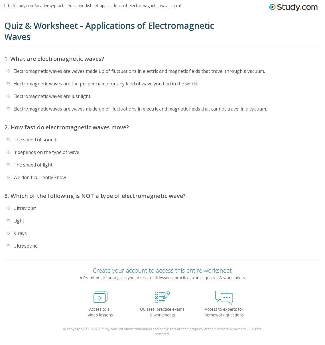 Worksheet Waves And Electromagnetic Spectrum Worksheet