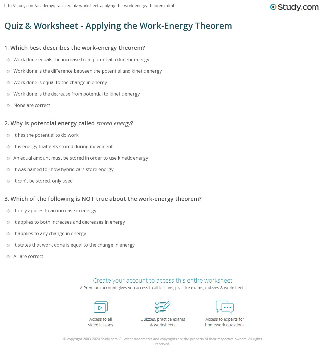 Work Kinetic Energy Theorem Worksheet Answers | Printable ...