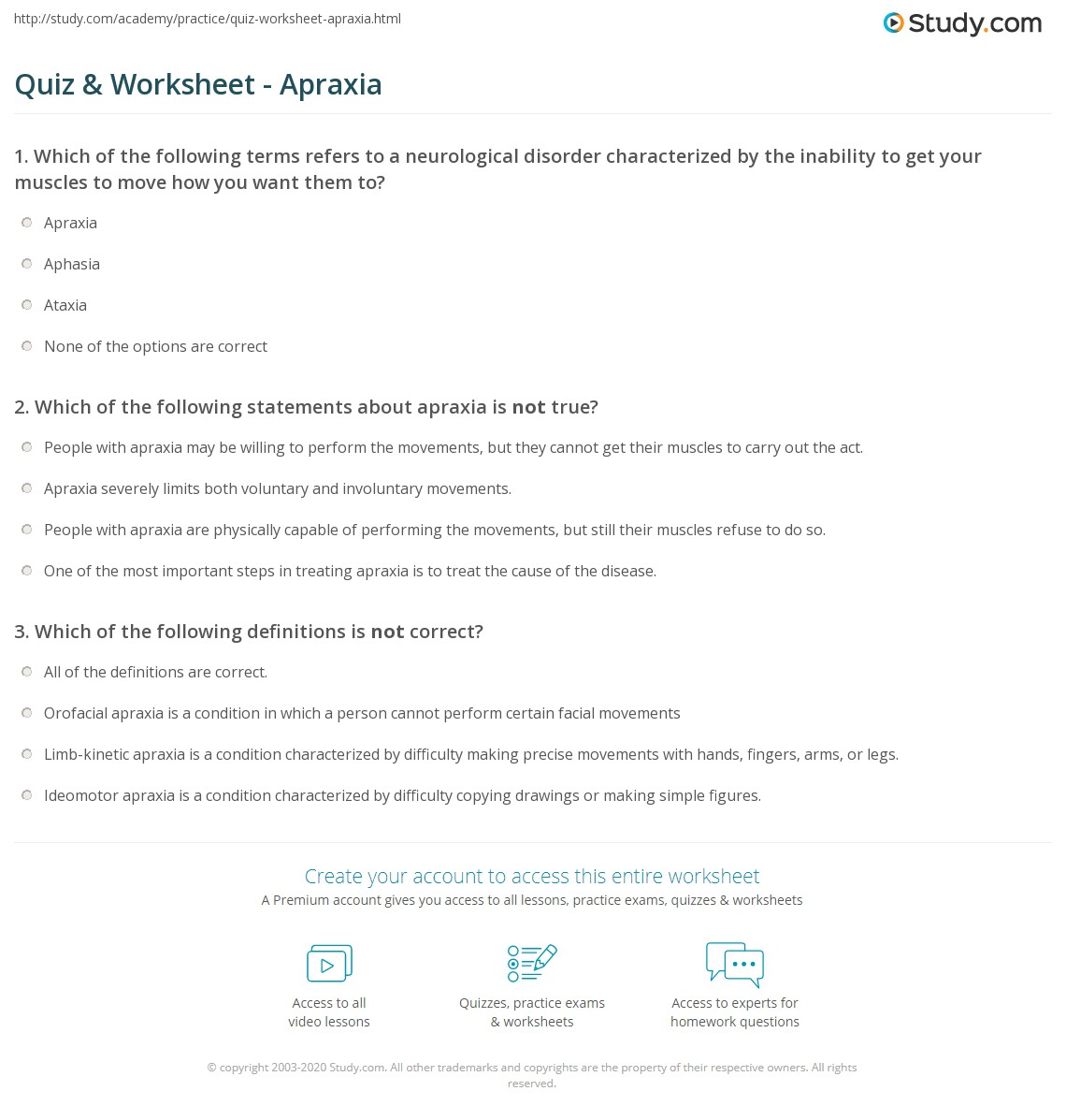 Apraxia Worksheet Home